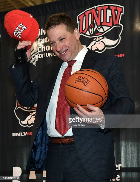 Chris Beard poses after being introduced as UNLV's new head basketball coach at a news conference at the Mendenhall Center at UNLV on April 8 2016 in...