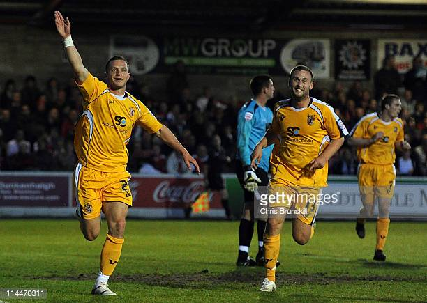 Chris Beardsley of Stevenage celebrates scoring the opening goal during the npower League Two Play Off Semi Final Second Leg match between Accrington...