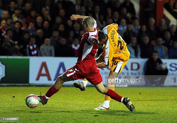 Chris Beardsley of Stevenage scores the opening goal of the npower League Two Play Off Semi Final Second Leg match between Accrington Stanley and...