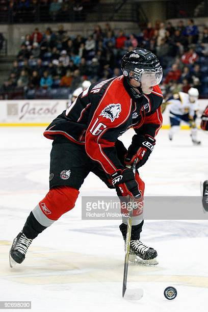 Chris Beauchamp of the Rouyn-Noranda Huskies skates with the puck during the game against the Shawinigan Cataractes at the Bionest Centre on October...