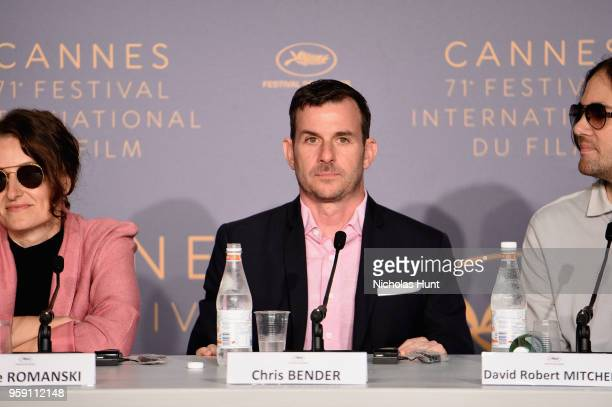 Chris Bender and David Robert Mitchell attend the 'Under The Silver Lake' Press Conference during the 71st annual Cannes Film Festival at Palais des...