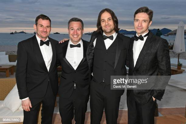 Chris Bender Jake Weiner David Robert Mitchell and Topher Grace pose at Nikki Beach for the Under The Silver Lake dinner presented by PerrierJouet at...