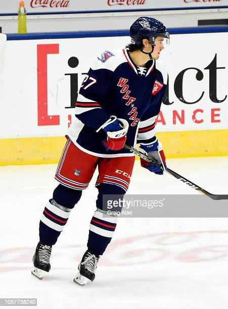 Chris Bigras of the Hartford Wolf Pack skates in warmup prior to a game against the Toronto Marlies during AHL game action on October 20, 2018 at...