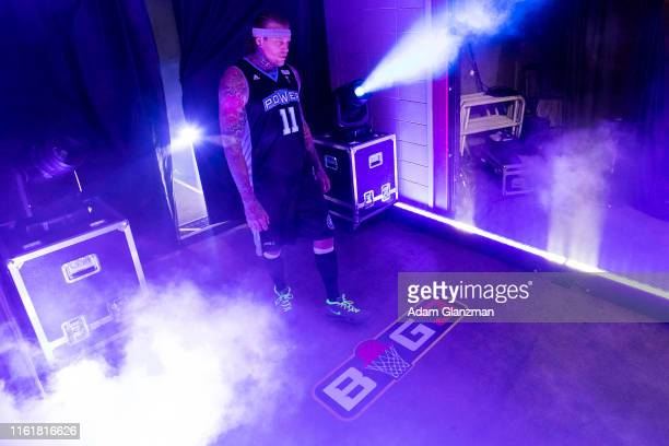 Chris 'Birdman' Andersen of the Power is introduced during week four of the BIG3 three on three basketball league at Dunkin' Donuts Center on July...