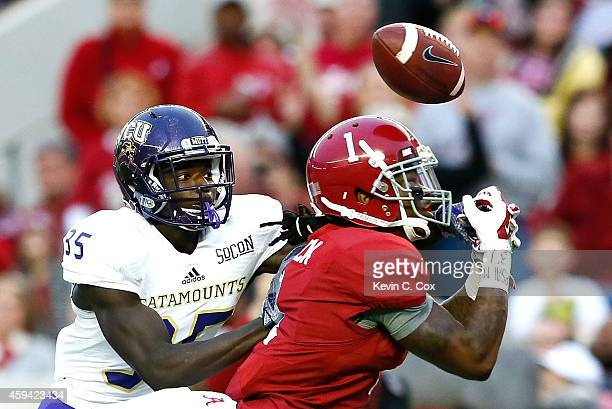 Chris Black of the Alabama Crimson Tide fails to pull in this touchdown reception against Keion Crossen of the Western Carolina Catamounts at...