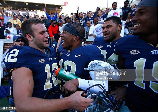 Chris Blewitt of the Pittsburgh Panthers celebrates after their 3128 win over the Georgia Tech Yellow Jackets at Bobby Dodd Stadium on October 17...