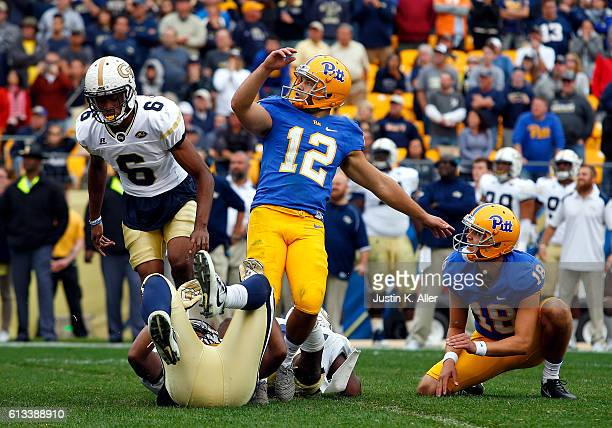 Chris Blewitt of the Pittsburgh Panthers kicks the game winning 31 yard field goal to defeat the Georgia Tech Yellow Jackets 3734 on October 8 2016...