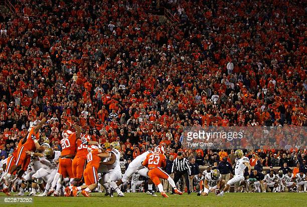 Chris Blewitt of the Pittsburgh Panthers kicks the gamewinning field goal against the Clemson Tigers at Memorial Stadium on November 12 2016 in...