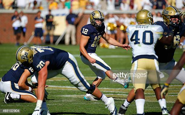 Chris Blewitt of the Pittsburgh Panthers kicks the goahead field goal in the final minutes of their 3128 win over the Georgia Tech Yellow Jackets at...
