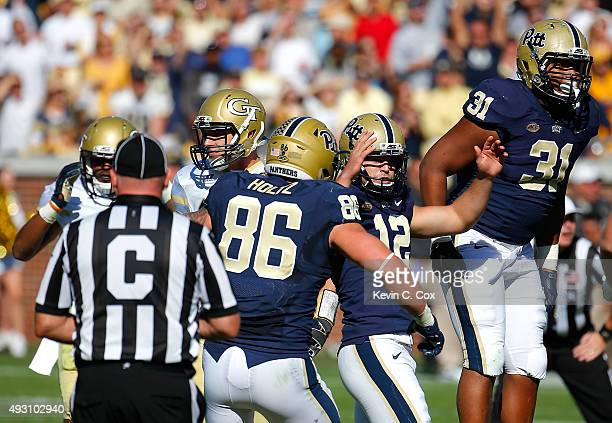 Chris Blewitt of the Pittsburgh Panthers reacts after kicking the goahead field goal in the final minutes of their 3128 win over the Georgia Tech...