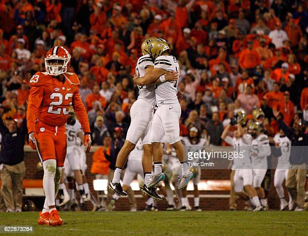 Chris Blewitt of the Pittsburgh Panthers reacts with teammates after kicking the gamewinning field goal against the Clemson Tigers at Memorial...