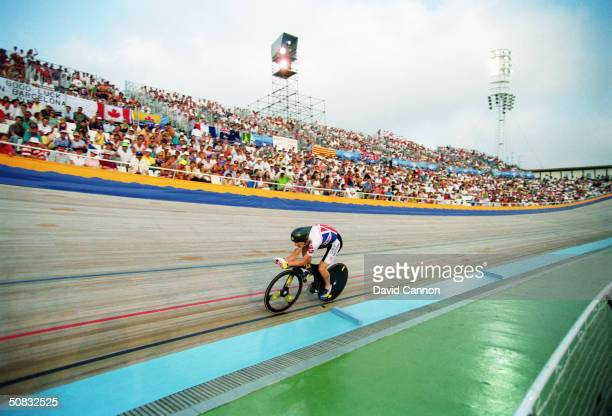 Chris Boardman of Great Britain in action on his Lotus Superbike during the 4000 metres Individual Pursuit final in the Velodrome at the 1992 Olympic...