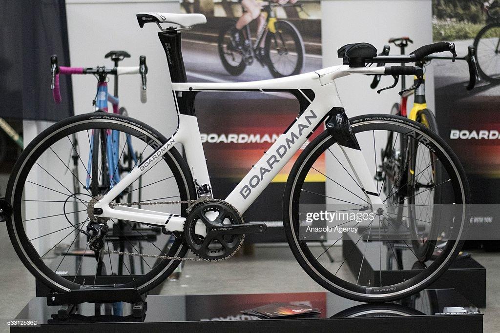 Chris Boardman racing bike on display at the Spin London