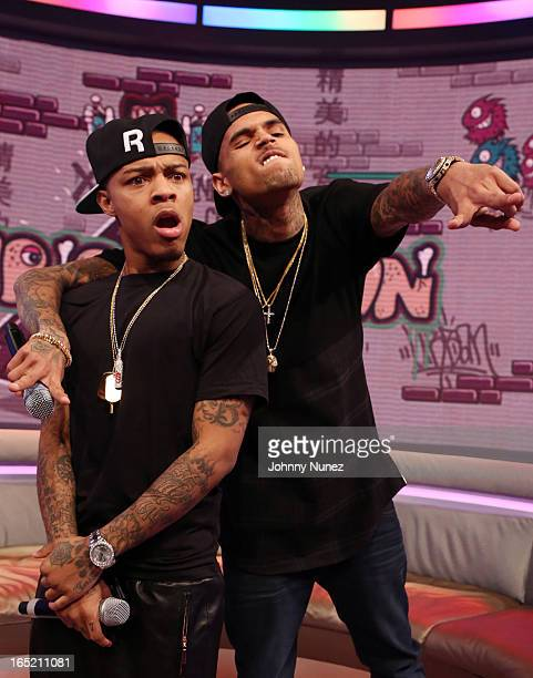 Chris Borwn visits BET's 106 Park with host Bow Wow at BET Studios on April 1 in New York City