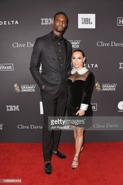 Chris Bosh and Adrienne Bosh attend The Recording Academy And Clive Davis' 2019 PreGRAMMY Gala at The Beverly Hilton Hotel on February 9 2019 in...