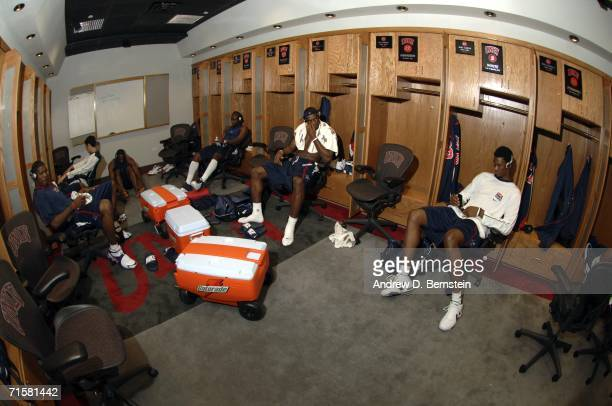 Chris Bosh and LeBron James of the USA Senior Mens National Team hang out in the locker room before the game against the Puerto Rico Senior Mens...