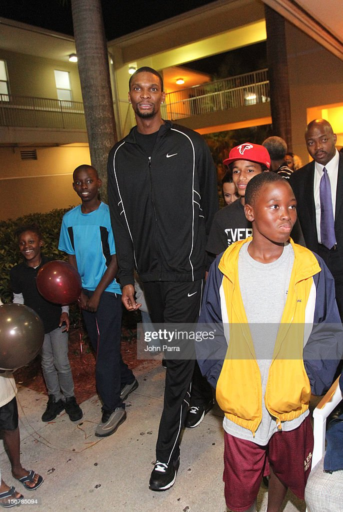 Chris Bosh attends the 2nd year with the Chapman Partnership to help feed the local families of Miami this Thanksgiving at Chapman Partnership on November 20, 2012 in Miami, Florida.