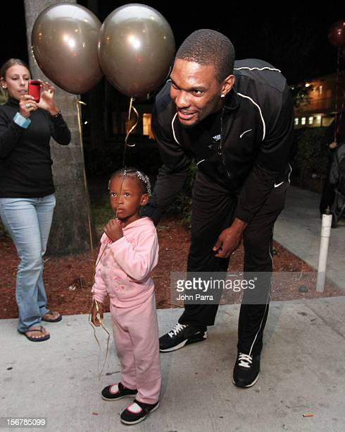 Chris Bosh attends the 2nd year with the Chapman Partnership to help feed the local families of Miami this Thanksgiving at Chapman Partnership on...