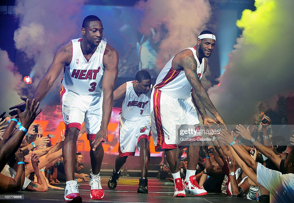 Heat summer of 2010 welcome event photos and images getty images chris bosh dwyane wade and lebron james attend the miami heat summer of 2010 welcome voltagebd Image collections