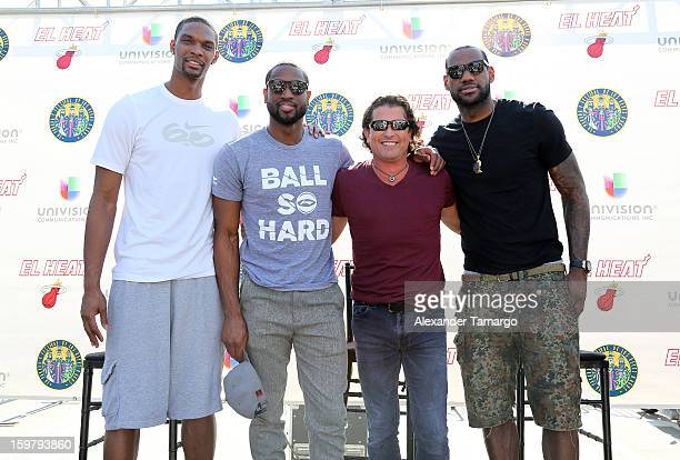 Chris Bosh Dwyane Wade Carlos Vives and LeBron James participate in the 43rd Annual Three Kings Day Parade on January 20 2013 in Miami Florida