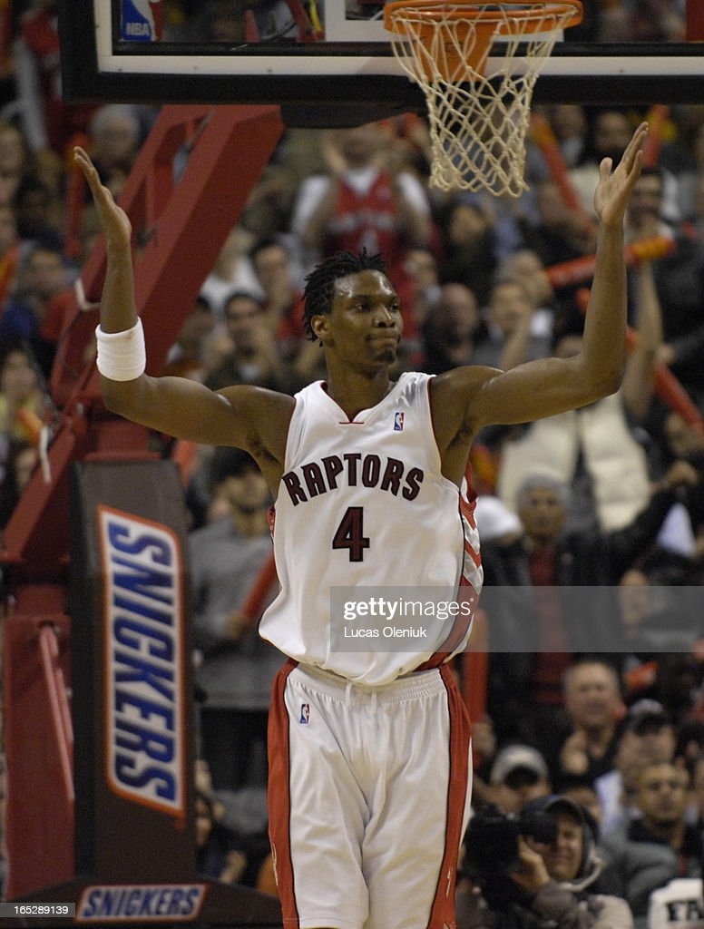Chris Bosh gets the crowd going after a dramatic block in the fourth quarter. The Toronto Raptors defeated the Seattle Supersonics 120-119 in overtime Sunday afternoon at the ACC.