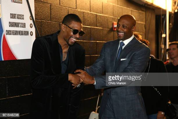 Chris Bosh greets Alonzo Mourning during the NBA AllStar Game as a part of 2018 NBA AllStar Weekend at STAPLES Center on February 18 2018 in Los...