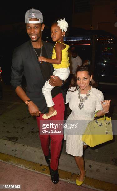 Chris Bosh his wife Adrienne Bosh is sighted at Prime 112 Steakhouse on June 3 2013 in Miami Beach Florida