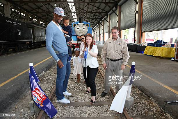 Chris Bosh Jackson Bosh Trinity Bosh Adrienne Bosh Julie Freeland and Russell Swaine attend the Day Out With Thomas The Thrill of the ride tour 2014...