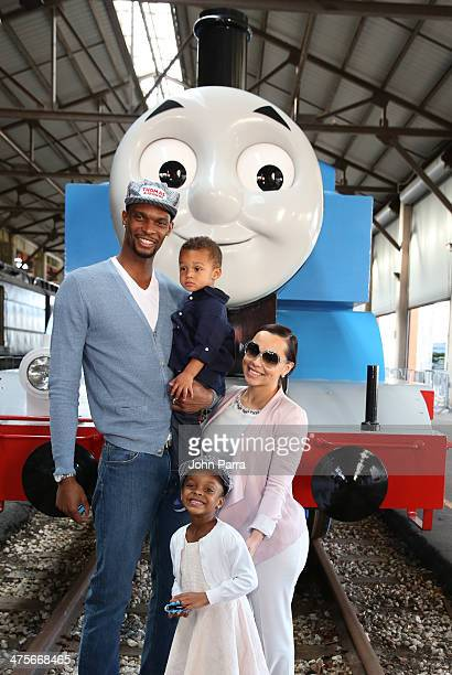 Chris Bosh Jackson Bosh Trinity Bosh and Adrienne Bosh attend the Day Out With Thomas The Thrill of the ride tour 2014 off at The Gold Coast Railroad...