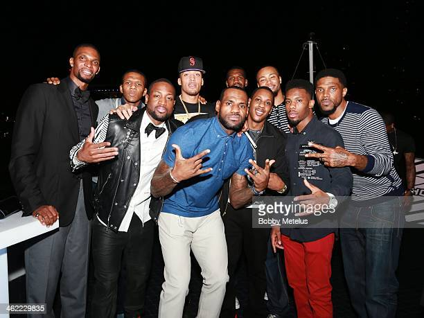 Chris Bosh James Jones Dwyane Wade Micheal Beasley LeBron James Mario Chalmers Greg Oden Rashard Lewis Norris Cole and Udonis Haslem attend Dwyane...