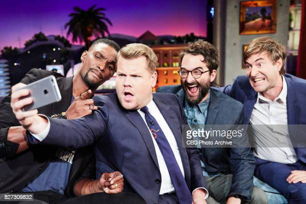 Chris Bosh Jay Duplass and Mark Duplass chat with James Corden during The Late Late Show with James Corden Tuesday July 25 2017 On The CBS Television...