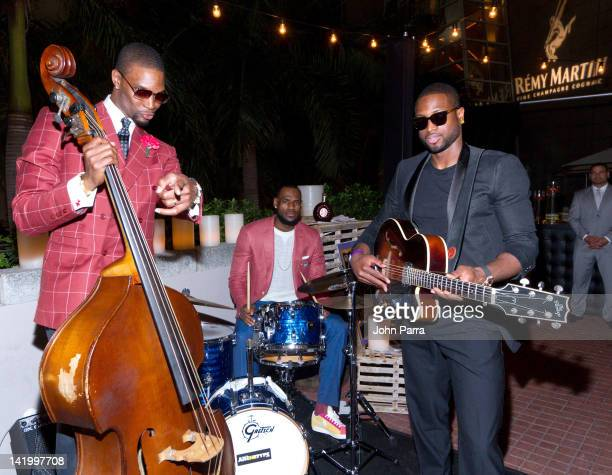 Chris Bosh Lebron James and Dwyane Wade attend the Remy Martin presents Chris Bosh comedy club Board walk casino night at Prelude at Barton G on...