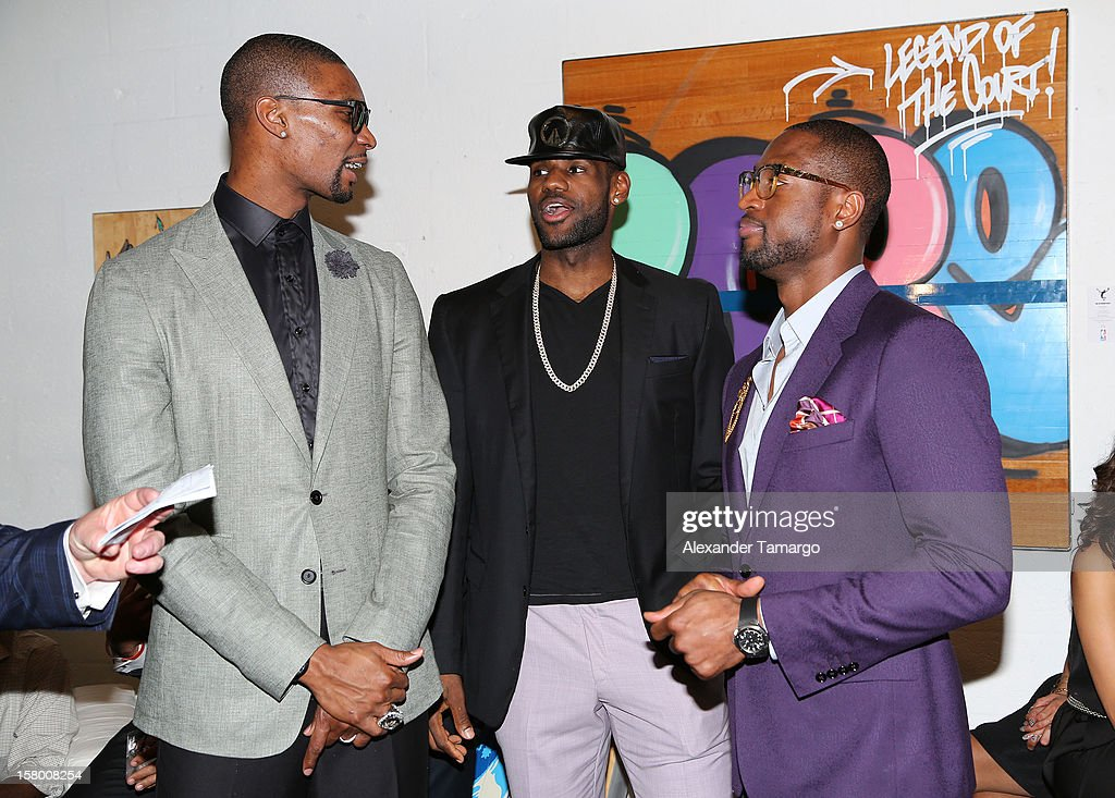 Chris Bosh, LeBron James and Dwyane Wade make an appearance as Premier Beverage Hosts Art Of Basketball: Heat Wave With Dwyane Wade & Chris Bosh on December 7, 2012 in Miami, Florida.