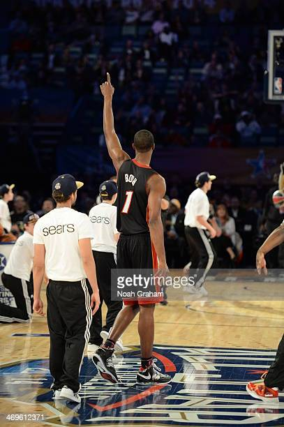 Chris Bosh of the East Team celebrates during the Sears Shooting Stars Competition on State Farm AllStar Saturday Night as part of the 2014 AllStar...