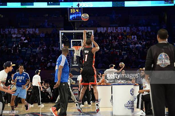 Chris Bosh of the East Team shoots during the Sears Shooting Stars Competition on State Farm AllStar Saturday Night as part of the 2014 AllStar...