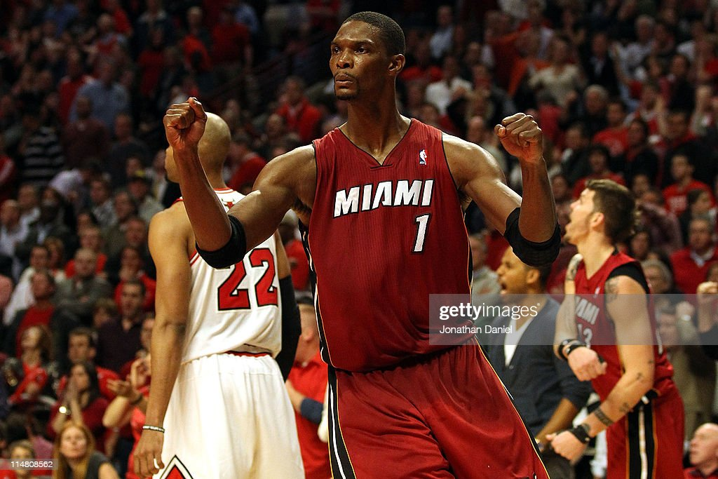 Chris Bosh #1 of the Miami Heat celebrates after the Heat won 83-80 against the Chicago Bulls in Game Five of the Eastern Conference Finals during the 2011 NBA Playoffs on May 26, 2011 at the United Center in Chicago, Illinois.