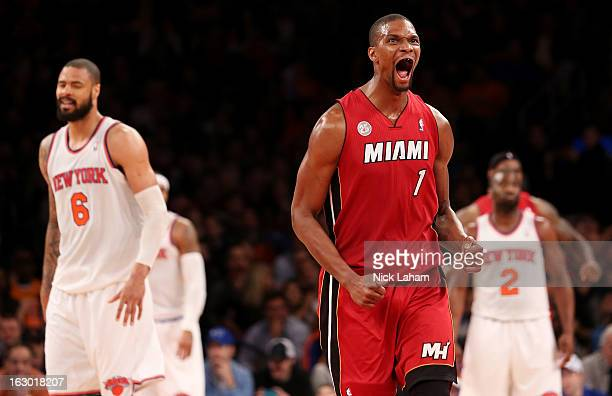 Chris Bosh of the Miami Heat celebrates hitting a fourth quarter shot against the New York Knicks at Madison Square Garden on March 3 2013 in New...