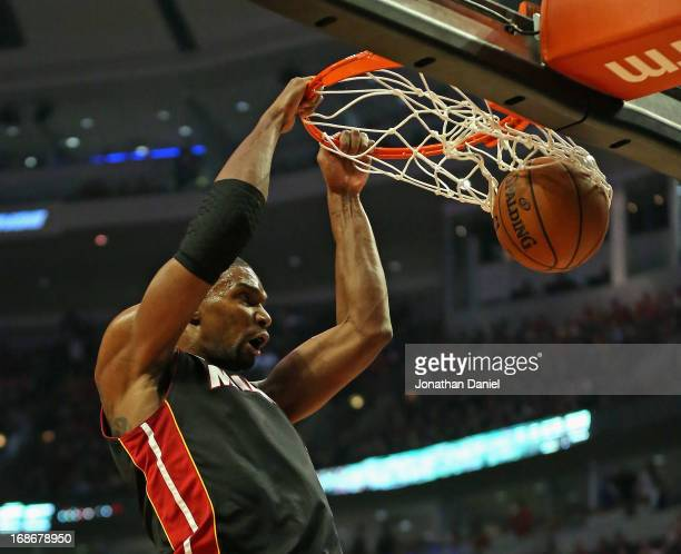 Chris Bosh of the Miami Heat dunks against the Chicago Bulls in Game Four of the Eastern Conference Semifinals during the 2013 NBA Playoffs at the...