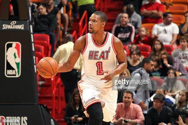 Chris Bosh of the Miami Heat handles the ball during the game against the Los Angeles Clippers on February 7 2016 at AmericanAirlines Arena in Miami...