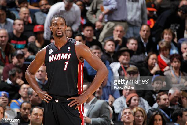 Chris Bosh of the Miami Heat in a game against the Golden State Warriors on January 16 2013 at Oracle Arena in Oakland California NOTE TO USER User...