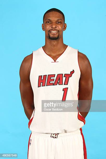 Chris Bosh of the Miami Heat poses for a portrait during the 2015 Media Day on September 28 2015 at the American Airlines Arena in Miami Florida NOTE...