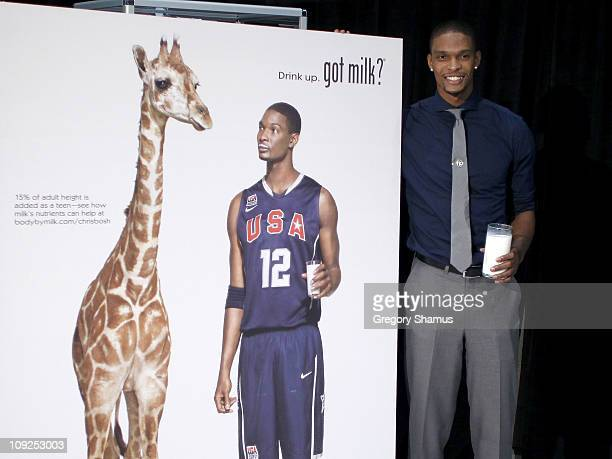 Chris Bosh of the Miami Heat poses next to a poster for his new Got Milk ad at Jam Session presented by Adidas during NBA All Star Weekend on...