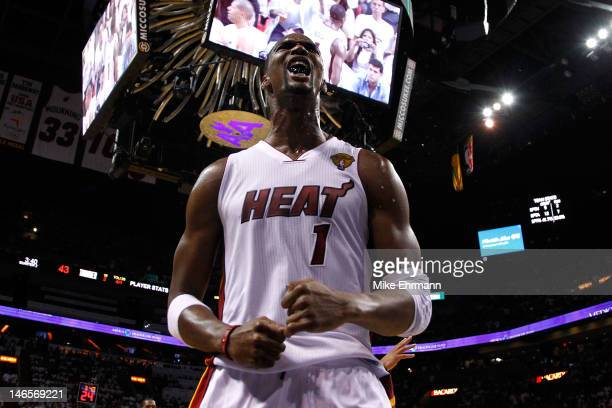 Chris Bosh of the Miami Heat reacts in the second quarter against the Oklahoma City Thunder in Game Four of the 2012 NBA Finals on June 19, 2012 at...