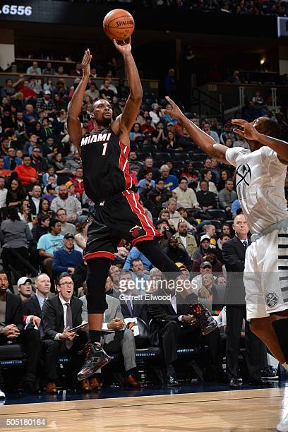 Chris Bosh of the Miami Heat shoots against the Denver Nuggets on January 15 2016 at the Pepsi Center in Denver Colorado NOTE TO USER User expressly...