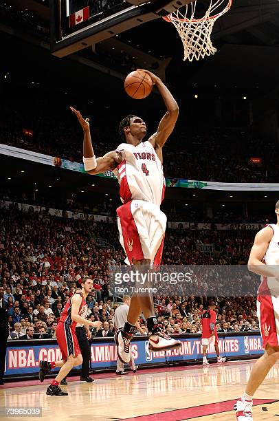 Chris Bosh of the Toronto Raptors grabs a rebound against the New Jersey Nets in Game Two of the Eastern Conference Quarterfinals during the 2007 NBA...