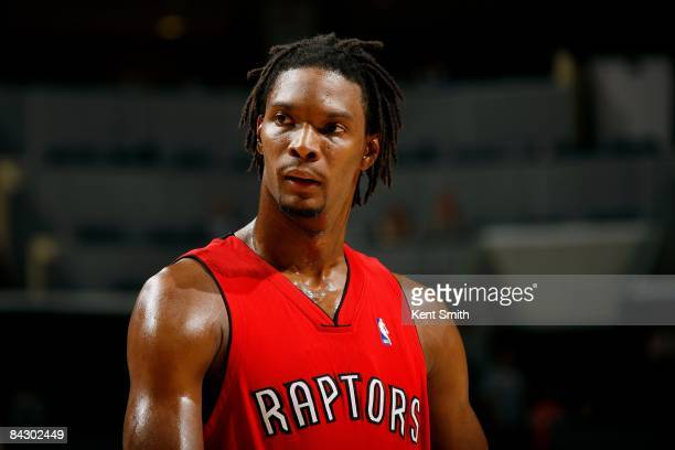 Chris Bosh of the Toronto Raptors looks up court during the game against the Charlotte Bobcats on November 9 2008 at Charlotte Bobcats Arena in...