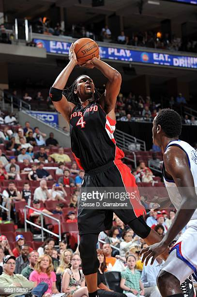 Chris Bosh of the Toronto Raptors makes a jumpshot against the Philadelphia 76ers during the game at Wachovia Center on April 3 2010 in Philadelphia...
