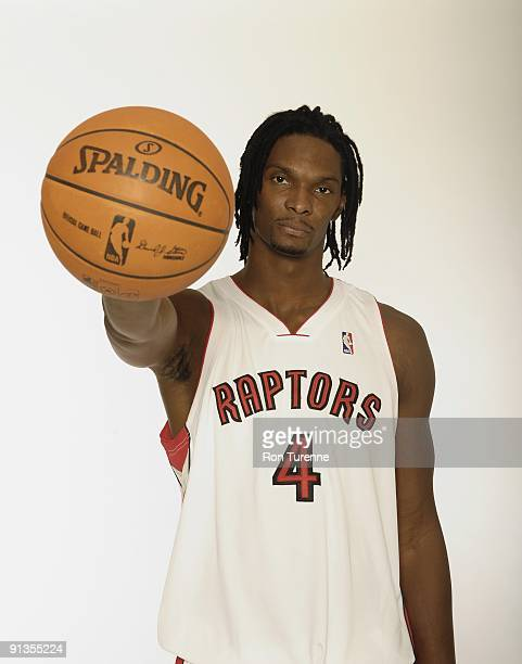 Chris Bosh of the Toronto Raptors poses for a portrait during 2009 NBA Media Day on September 28 2009 at Air Canada Centre in Toronto Canada NOTE TO...