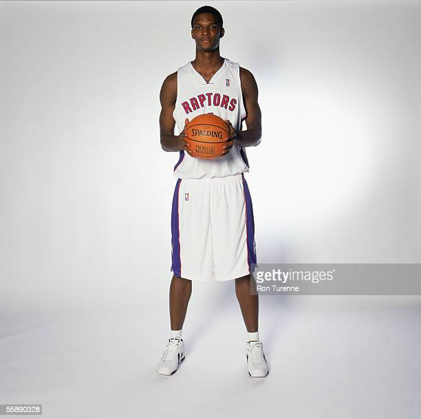 Chris Bosh of the Toronto Raptors poses for a portrait during NBA Media Day on October 3 2005 at the Air Canada Centre in Toronto Canada NOTE TO USER...