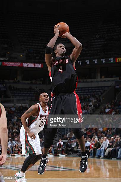 Chris Bosh of the Toronto Raptors shoots a jumpshot against the Milwaukee Bucks on January 20 2010 at the Bradley Center in Milwaukee Wisconsin NOTE...